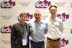 Greg Rosenbaum '06 (left), general manager and a founder of SXSWedu, poses with Glenn Whitman and Ian Kelleher in Austin.