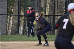 Meghan Donohue drove in five runs to help the Hun School softball team to a 16-0 win over Princeton Day School on Tuesday. It was the Raiders' third straight win. Photo Courtesy of Vincent Shea.