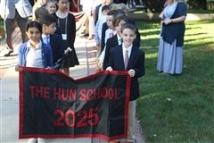 The Class of 2025, The Hun School's youngest members, lead the procession during Convocation