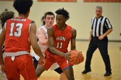 The Hun School's Shamar Florence looks to pass the ball during the Raiders' 57-44 win over Pennington on Wednesday.  (PC: G. Csapo)