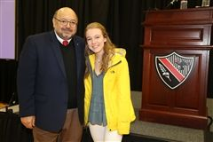 Dr. David Gallo, one of the world's foremost ocean explorers, spoke at The Hun School of Princeton on Tuesday. Here he is pictured with Hun School student Natalie Davis '17.