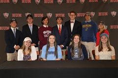 Front row, left to right;  Delia Lawver, Anna Maquire, Julie Fassl, and Sophia Albanese. Back row, left to right: Andrew Kaye, Sam Schluter, Chris Licitra, Alex Ill, Rex Berger, Joaquin Hernandez-Burt, and Kate Davis.