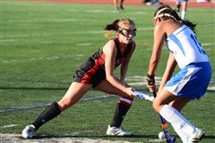 Claudine Chiminski '18 fights for possession versus a West Windsor-Plainsboro North opponent