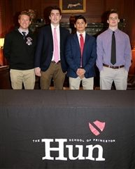 In photo, left to right: Hun scholar-athletes on November 8th signed letters of intent to play Division I collegiate sports next year. They are, left to right: Frank DelGuercio, Richard Magnus, Sam Uva, and Jake Keller.
