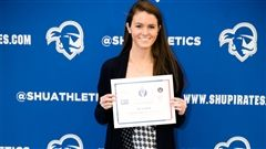 Deidre Daly '17, a three-sport athlete, was chosen to represent Oak Knoll School at Seton Hall University Sunday in celebration of the 31st anniversary of National Girls and Women in Sports Day. (Photo courtesy of Gabe Rhodes Photography)
