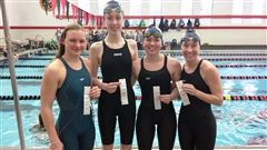 The team, from left, of Kayleigh Massengill '19, of Summit; Ariana Russo '18, of Madison; Lindsay Criqui '18, of Essex Fells; and Annie Keenan '19, of Summit, earned a second place and third place finish in the 200 medley and 400 free relays, respectively.