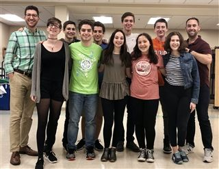 Select Golda Och Academy high school students participated in a musical theatre workshop for the Educational Theatre Association's Model Curriculum Framework Project. From left to right: GOA Upper School Dean of Students and Arts Department Chair Jordan Herskowitz, Samantha Bates, Amitai Nelkin, Gabi Weiss, Theo Deitz-Green, Amanda Feldman, Itai Rekem, Naomi Sessler, Rafi Colton-Max, Hannah Stoch and NYC teaching artist Brian Curl.