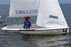Warren trims the job while sailing upwind.