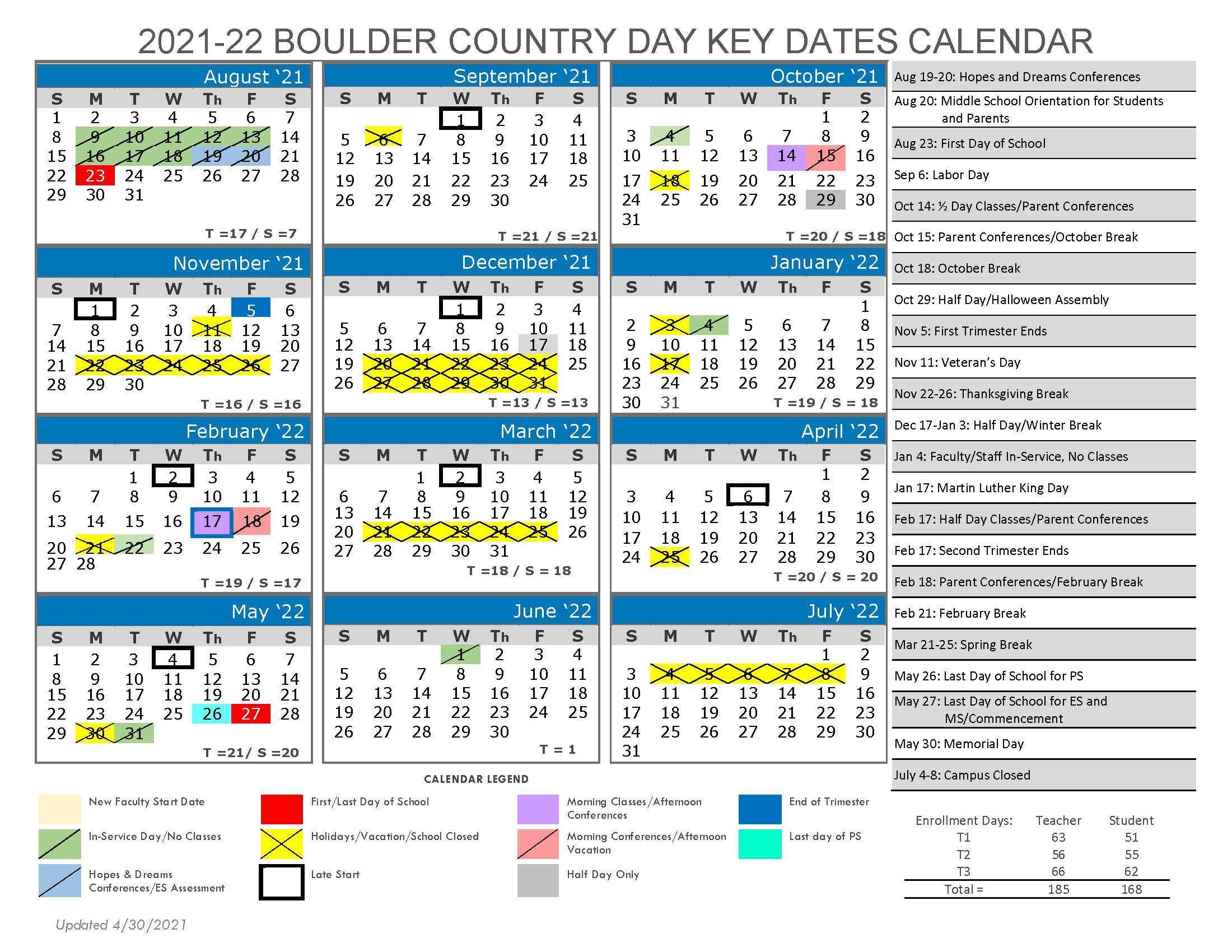 Cu Boulder Academic Calendar 2022.Boulder Country Day School Calendar