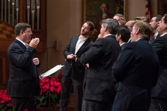 Headmaster Brennan directs The Sly Voxes, an all-male a cappella group featuring talented RL alumni, parents, faculty, and friends. (Photos by Adam Richins)