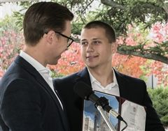 Patrick Downes presents BC Strong scholarship to Jack Manning '16. (photo by Lee Pellegrini)