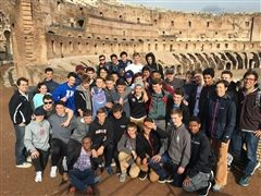 Class IV Classics students at the Colosseum in Rome