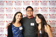 Allison Slater (left) with Camp Phoenix co-founders James Paek and Jacqueline Soohoo
