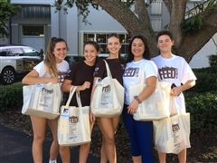 WCS Students Collect Items for Feed Miami: (L to R) Caroline Boulris, Lucianna Brambilla, Rebekah Raffalski, Victoria Eden, and EJ Belaval