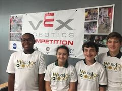 Team 33157A: Alex Gambrell, Sezin Dieleman, Andres Duran, Dante Martinez and Tommy Brigham (not pictured).