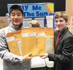 Upper School students Arnold Xu and Austin Graves with their award-winning project,