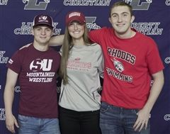 Hunter Stinnett, Taylor Scalzi, and Ryan Folk at National Signing Day