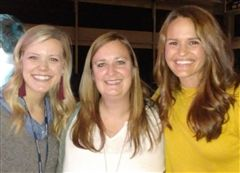 Minister to Girls Courtney Smith and Bible teacher Katie Gober with alumna Whitney Hand Jones