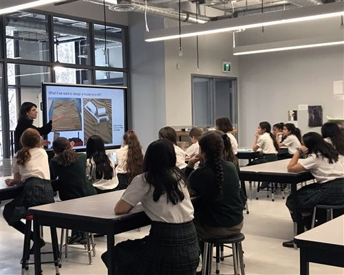 Architect Julie Cormie spoke to students about empathic design. (January 2020)