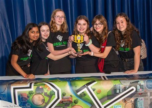 Middle School students received an award at the the FIRST LEGO League robotics tournament. (January 2020)