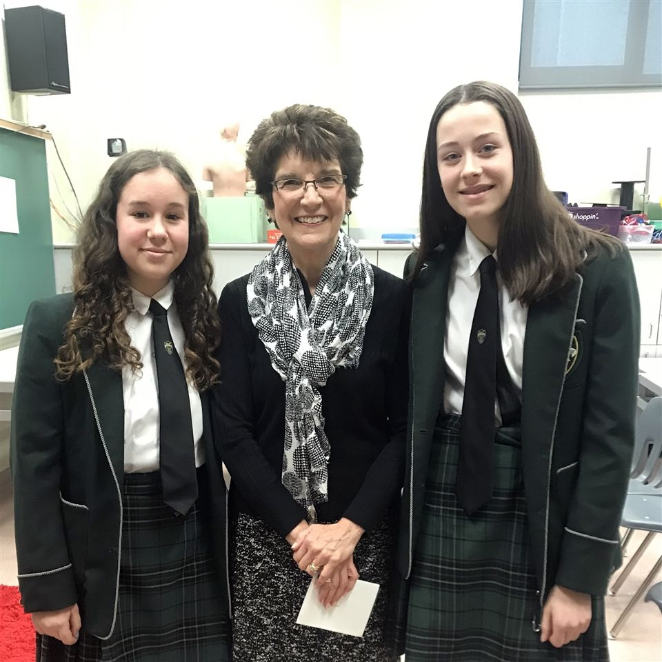 Grade 8 students with Fran Burr, who gave a career awareness presentation in February 2020.