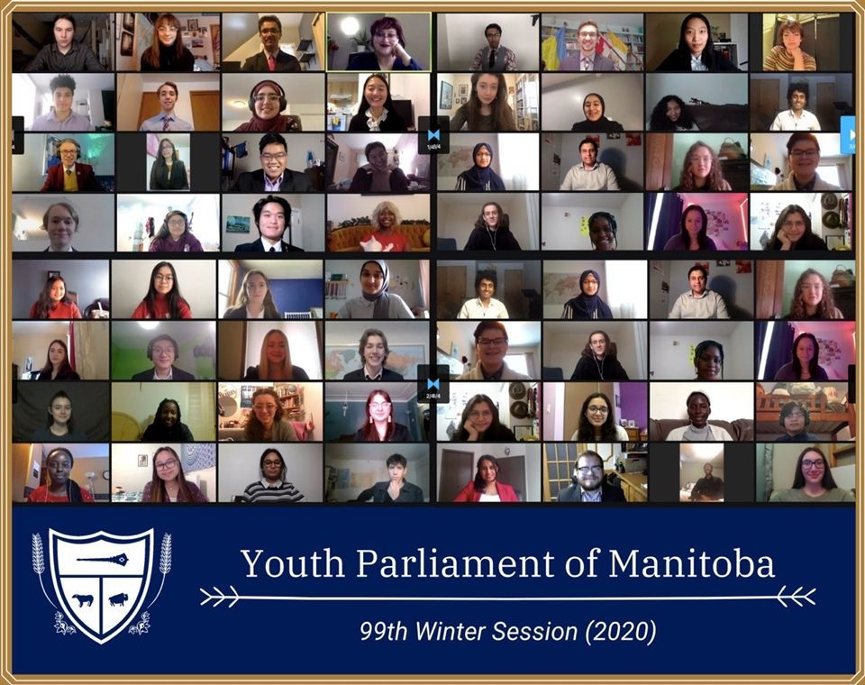 Members of the 99th Winter Session of Youth Parliament of Manitoba. (December 2020)