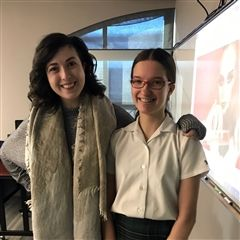 Cella Rousseau '11 visited the Grade 8 class in January 2019.