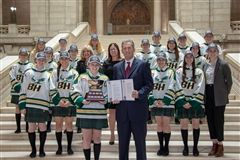 April 8, 2019, BH Blazers at Manitoba Legislative Building with Hon. Brian Pallister (Photo by Steph Bisson)