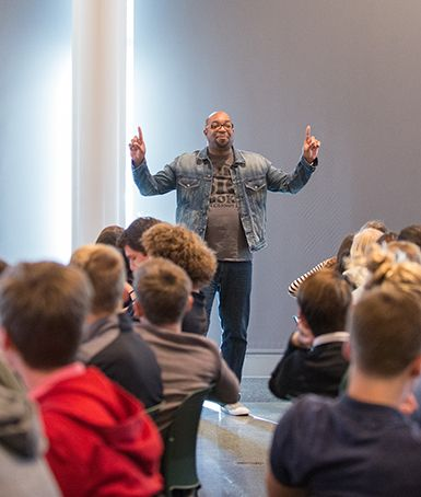 Author Kwame Alexander Speaks to Upper and Middle School Students