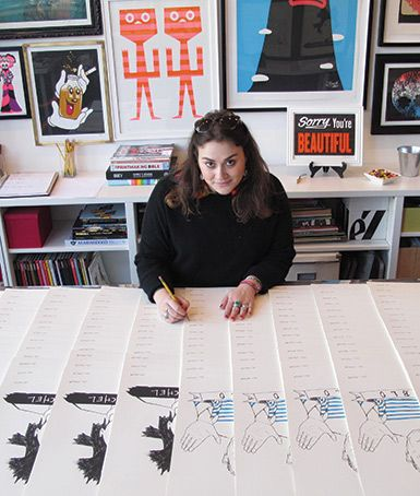You've probably seen Dana Veraldi '02's t-shirts on friends and in magazines. Her brand book is a portfolio both of her products and her art. With fans like Justin Bieber, Orlando Bloom, and Mark Ruffalo, DEERDANA has achieved a cult following. Read about how this artist and Shipley alumna got her start and how her success has grown.