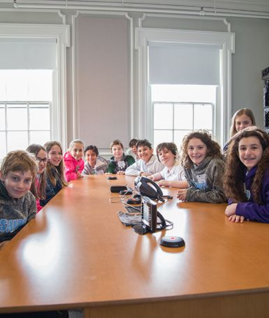Lower School Student Council Members participate in a meeting with the Development Office.