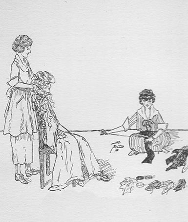 An illustration from the 1918 yearbook shows students knitting scarves for soldiers in France. Later that year, their efforts turned towards sewing masks and aprons for medical personnel fighting the flu pandemic in Philadelphia.