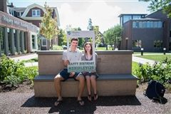 Seniors Roger Irwin and Sarah Engelman enjoy a beautiful day in the Annie Aspinall '11 Memorial Garden, to be dedicated in late October. The photo represents one of many taken throughout campus to commemorate Shipley's 125th anniversary.