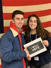 Seniors Liam Riley and Talia Chairman, registered to vote. They are among a number of students who voting for the first time.