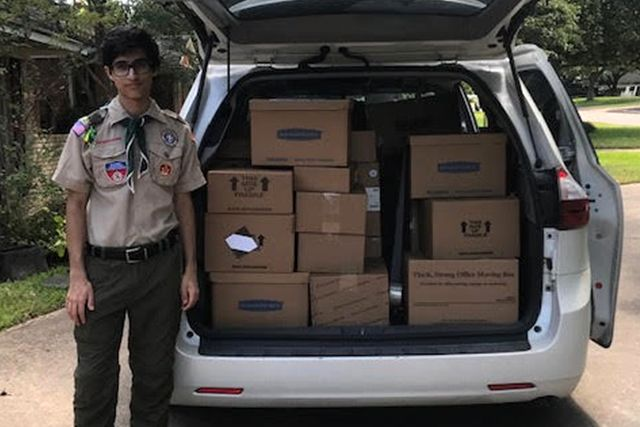 Nikhil with donations ready to deliver.