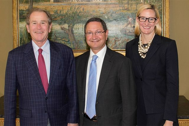 President George W. Bush, Ken Hersh '81, and Executive Director Holly Kuzmich. Photo credit: George W. Bush Presidential Center