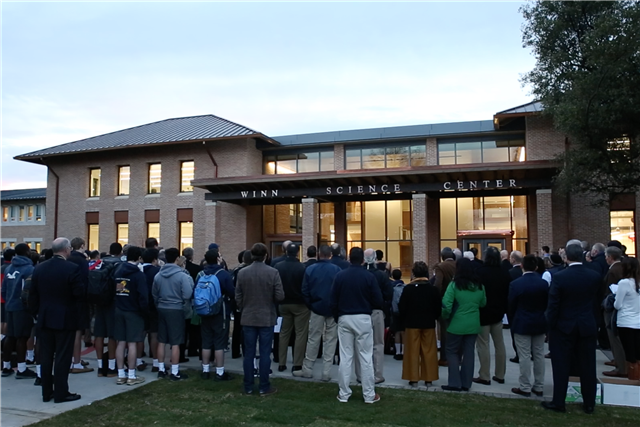 The community gathers outside of the Winn Science Center.