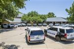 SWAT Team vehicles parked outside Lower School during their summer training.
