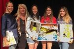 Marisa Fort '98 accepting dedication on behalf of Bea's family, Ms. Dalins, PEEL faculty sponsor, Chloe Chua '19 PEEL editor with Ransom Everglades Art League (REAL) members Isabella Taranto '20, VP of REAL and Sofia Andrade '19, President of REAL