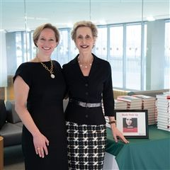 Bestselling author Dr. Lisa Damour (left) spoke to nearly 500 captivated audience members about her latest book.