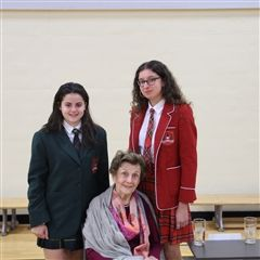 Ari (Grade 8) and Izzy (Grade 12)  thanked Vera Schiff for inspiring them with her story of resilience.