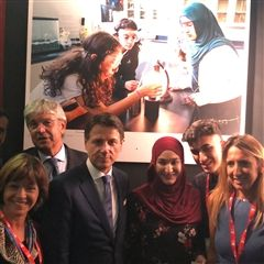 Zainab met with Italian Prime Minister Giuseppe Conte while at Campionaria Generale Internazionale in Bari, Italy.