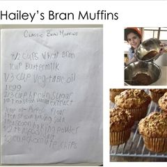 Hailey's muffins are just one of the delicious recipes in the Grade 1 cookbook.