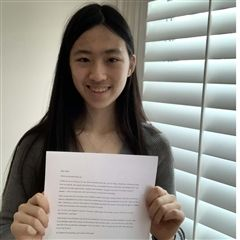 Elizabeth's prose poem earned First Prize from the Conference of Independent Teachers of English (CITE).