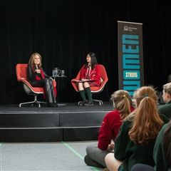 Gloria Steinem spoke to more than 600 students at Branksome Hall and later to a sold-out audience at Convocation Hall.