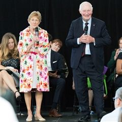 The Right Honourable David Johnston and his wife, Sharon Johnston, participated in a question and answer session with students.