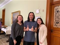 Grace Connors (SHP '19), speaker Ge Wang, and Lauren-Elize Roque (SHP '20)