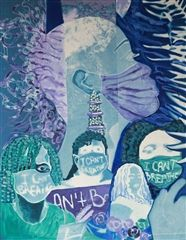 I Can't Breathe, Remembering Breonna Taylor, cyanotype paper and watercolor paint on wood