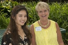 2017 Alumni Essay Contest Winner Abigail Pham ('11) with Head of School Pat Walker