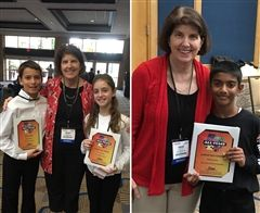 Florida All-State Chorus members Tate and Chloe and Orff  ensemble member Shri, all pictured with Ms. Dickert